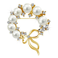 Gold Floral Bowknot White Crystal Rhinestone Pearl Wedding Bridal Brooch Pin