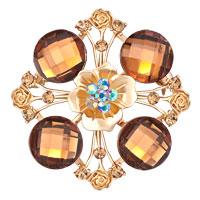 Vintage Yellow Crystal Rhinestone Brooches Floral Flower Wedding Pin Brooch