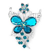 Vintage Blue Rhinestone Crystal Gold Butterfly Flower Brooch Pin Wedding