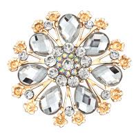 Vintage Gold White Rhinestone Crystal Tear Drop Floral Flower Brooch Pin