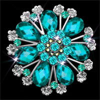 Vintage Antique Blue Tear Rhinestone Crystal Wedding Bouquet Flower Brooches