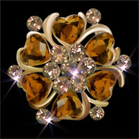 Vintage Yellow Heart Crystal Rhinestone Floral Flower Pin Brooch Brooches