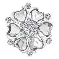 White Clear Heart Crystal Rhinestone Brooch Silver Floral Flower Brooch Pin