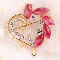 Vintage Heart Red Rhinestone Crystal Brooches Pin Gold Floral Flower Brooch