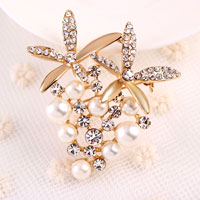 Gold Faux Pearl Brooches Pin Clear Rhinestone Crystal Floral Flower Women