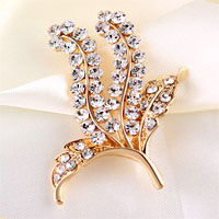 Vintage Floral Flower Leaf Brooch White Rhinestone Crystal Wedding Bouque