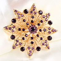 Purple Rhinestone Crystal Flower Floral Brooch Pin Wedding Bridal Bouquet