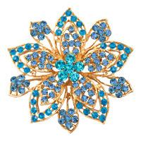 Vintage Gold Flower Brooches Blue Rhinestone Crystal Brooch Women