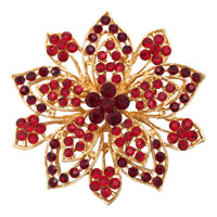 Vintage Gold Flower Brooches Red Rhinestone Crystal Brooch Women