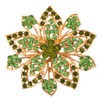 Peridot Green Drop Stone Crystal Rhinestone Open Floral Flower Leaf Pin Brooch