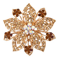 Vintage Gold Flower Brooches Yellow Rhinestone Crystal Brooch Women