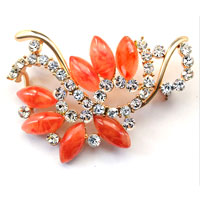New Vintage Orange Rhinestone Crystal Gold Floral Flower Leaf Brooch Pin