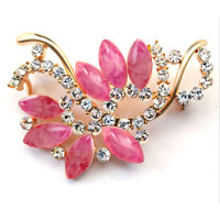 New Vintage Purple Rhinestone Crystal Gold Floral Flower Leaf Brooch Pin
