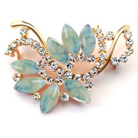 New Vintage Blue Rhinestone Crystal Gold Floral Flower Leaf Brooch Pin Women
