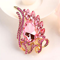 Pink Drop Stone Crystal Rhinestone Open Floral Flower Leaf Pin Brooch