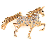 Vintage White Rhinestone Crystal Brooches Gold Horse Animal Pin Brooch New