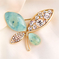 Vintage Butterfly Brooches Blue Rhinestone Crystal Pin Brooch New