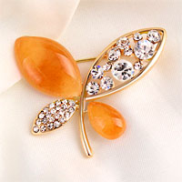 Vintage Butterfly Brooches Yellow Rhinestone Crystal Pin Brooch New