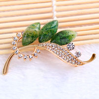 Green Rhinestone Crystal Gold Floral Flower Brooch Pin Wedding Bridal Brooch
