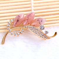 Colorful Drop Stone Crystal Rhinestone Open Floral Flower Leaf Pin Brooch