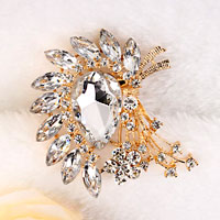 New Vintage Floral Flower Drop Brooch Pin White Rhinestone Crystal Wedding