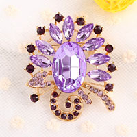 Fashion Big Purple Drop Rhinestone Crystal Floral Flower Pin Brooch Women