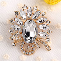 Vintage White Drop Rhinestone Crystal Gold Floral Flower Pin Brooch Women