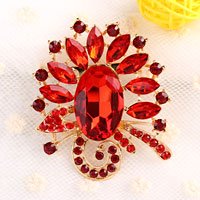 Vintage Big Red Drop Rhinestone Crystal Gold Floral Flower Pin Brooch Women