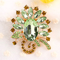 Fashion Green Drop Rhinestone Crystal Gold Floral Flower Pin Brooch Women
