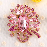 Fashion Big Pink Drop Rhinestone Crystal Gold Floral Flower Pin Brooch Women