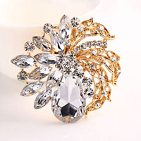 Vintage Big White Drop Rhinestone Crystal Gold Floral Flower Pinbrooch