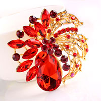 Redrhinestone Crystal Gold Floral Flower Brooch Pin Wedding Bridal Brooch