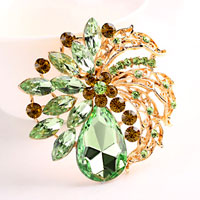Vintage Rhinestone Crystal Gold Floral Flower Brooch Pin Wedding Bridal