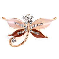 Butterfly Brooch Pin Enamel White Rhinestone Crystal Brown Bridal Brooches