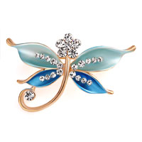 Butterfly Brooch Pin Enamel White Rhinestone Crystal Blue Bridal Brooches