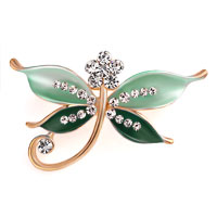 Butterfly Brooch Pin Enamel White Rhinestone Crystal Green Bridal Brooches