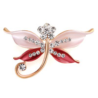 Butterfly Brooch Pin Enamel White Rhinestone Crystal Red Bridal Brooches