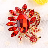 Red Rhinestone Crystal Floral Flower Brooch Pin Wedding Bridal Bouquet