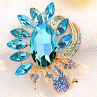 Blue Rhinestone Crystal Floral Flower Brooch Pin Wedding Bridal Bouquet