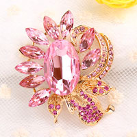 Pink Rhinestone Crystal Floral Flower Brooch Pin Wedding Bridal Bouquet