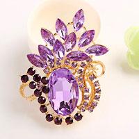 Vintage Floral Flower Brooch Pin Purple Rhinestone Crystal Pendant