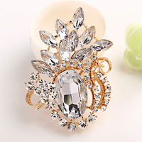 Vintage Floral Flower Drop Brooch Pin Clear Rhinestone Crystal Pendant