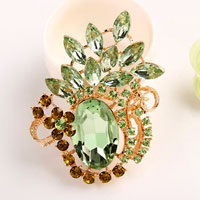 Vintage Floral Flower Drop Brooch Pin Green Rhinestone Crystal Pendant Women