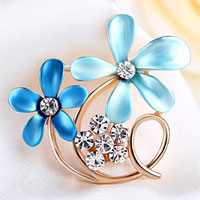 Vintage Blue Enamel Floral Flower Brooch Clear Rhinestone Crystal Brooches