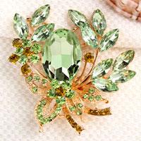 Green Drop Stone Crystal Rhinestone Open Floral Flower Leaf Pin Brooch