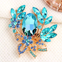 Vintage Floral Flower Drop Brooch Pin Blue Rhinestone Crystal Pendant Women