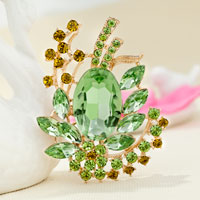 Vintage Green Rhinestone Crystal Gold Floral Flower Brooch Wedding Bridal