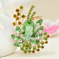 Vintage Green Rhinestone Crystal Gold Floral Flower Brooch Wedding Bridal