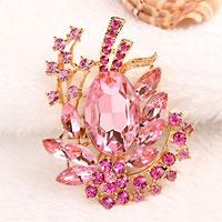 Rose Pink Drop Stone Crystal Rhinestone Open Floral Flower Leaf Pin Brooch