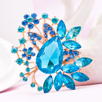Big Vintage Floral Flower Drop Brooches Pin Blue Rhinestone Crystal Brooch
